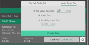 auto cash out rule example